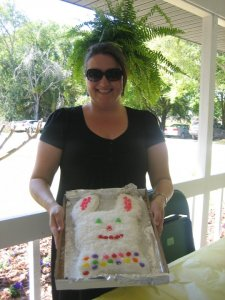 Easter 2010, with my bunny birthday cake.